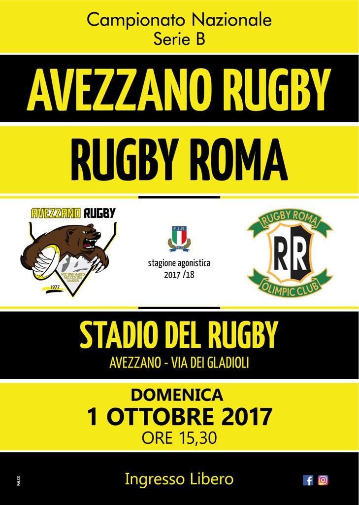 locandina giallo nera - Avezzano Rugby