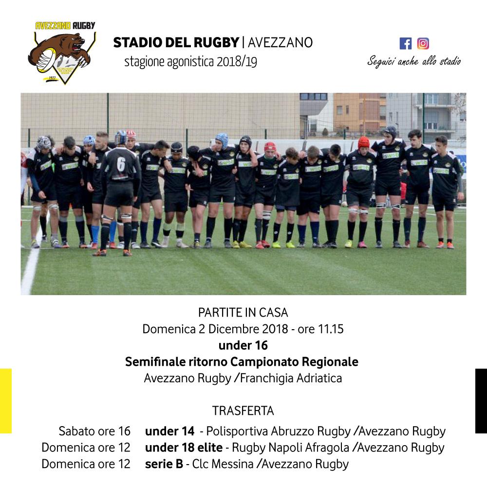 calendario partite avezzano rugby