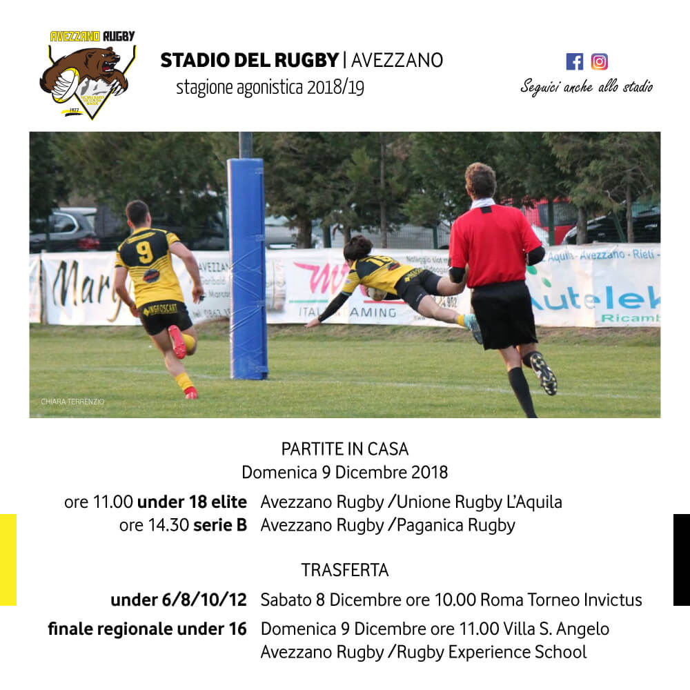 Partite Avezzano Rugby 9dic2018