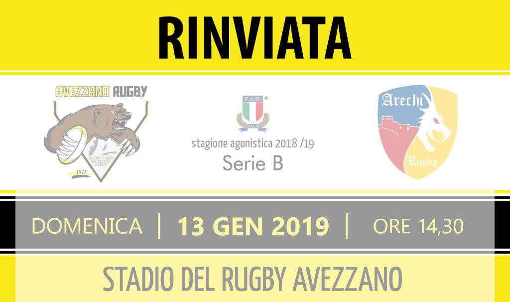 Avezzano Rugby - partita rinviata