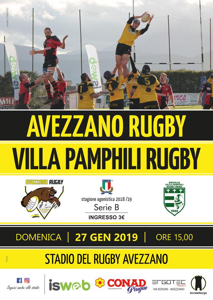 Avezzano Rugby vs Villa Pamphili Rugby - locandina