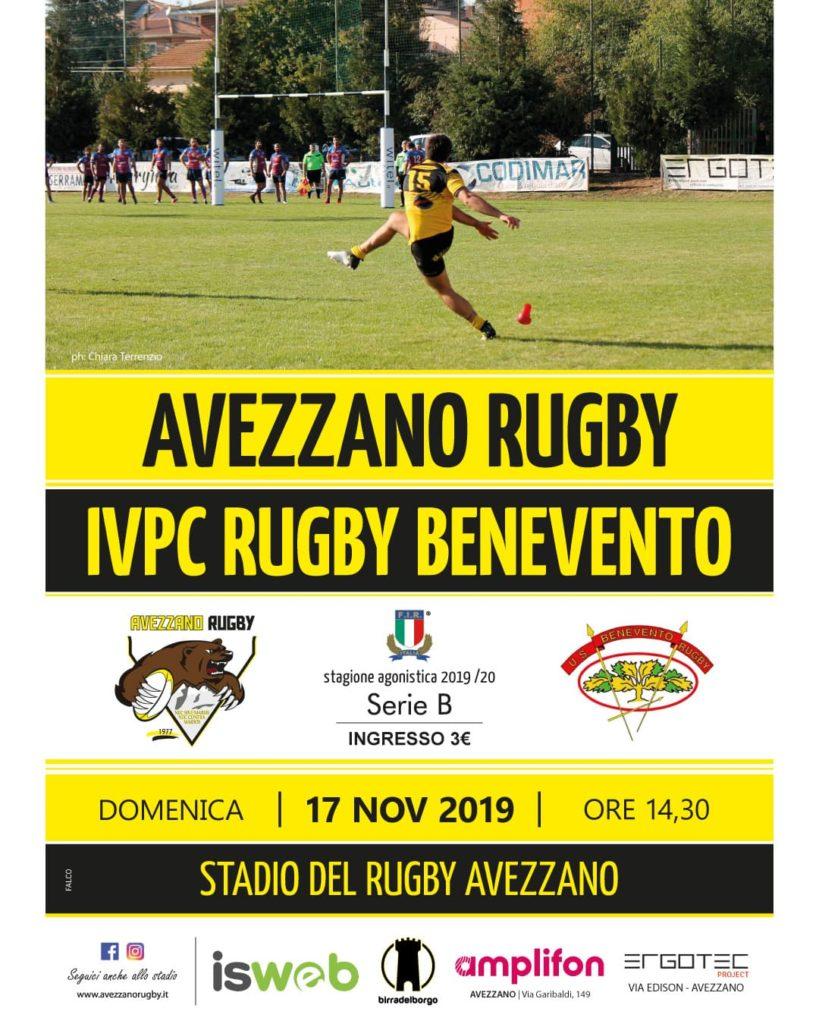 locandina Rugby - Avezzano vs Benevento