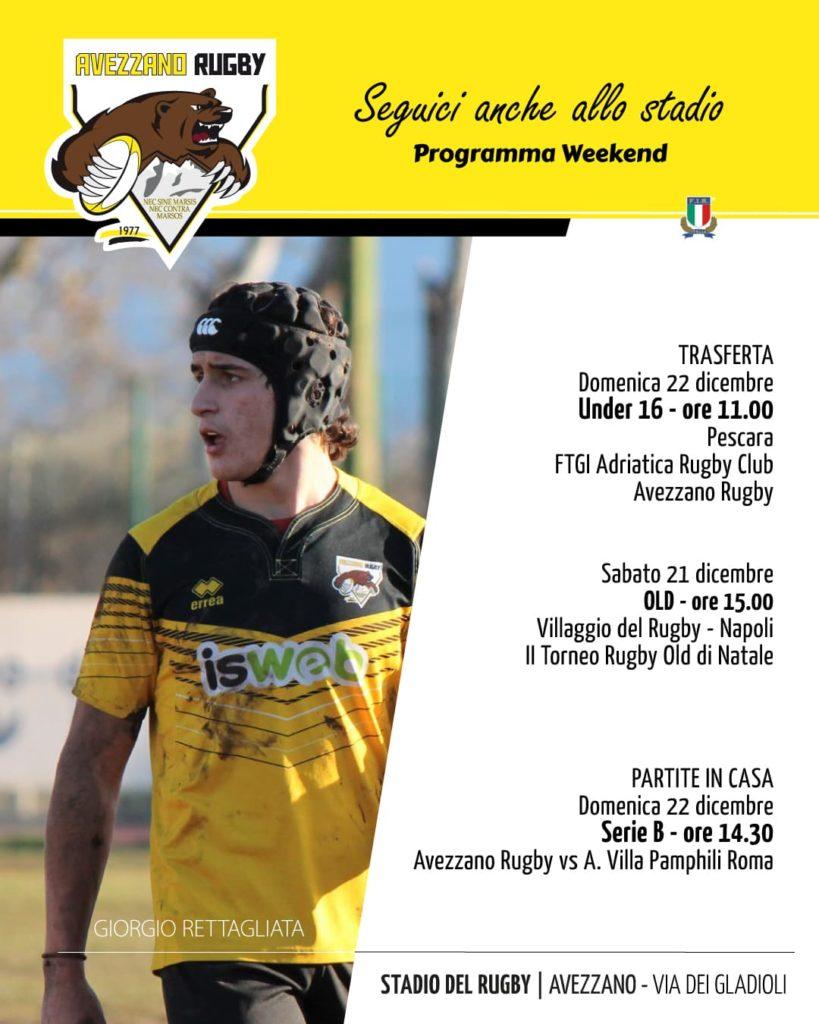 rugby - programma weekend