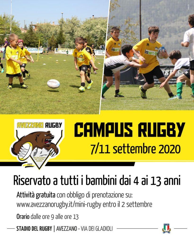 Campus rugby risrvato a tutti i bambini dai 4 ai 23 anni
