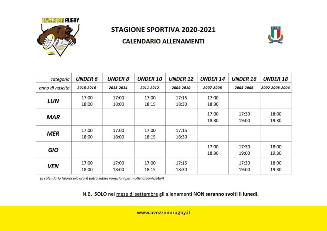 Calendario allenamenti - stagione sportiva avezzano2020/2021 rugby