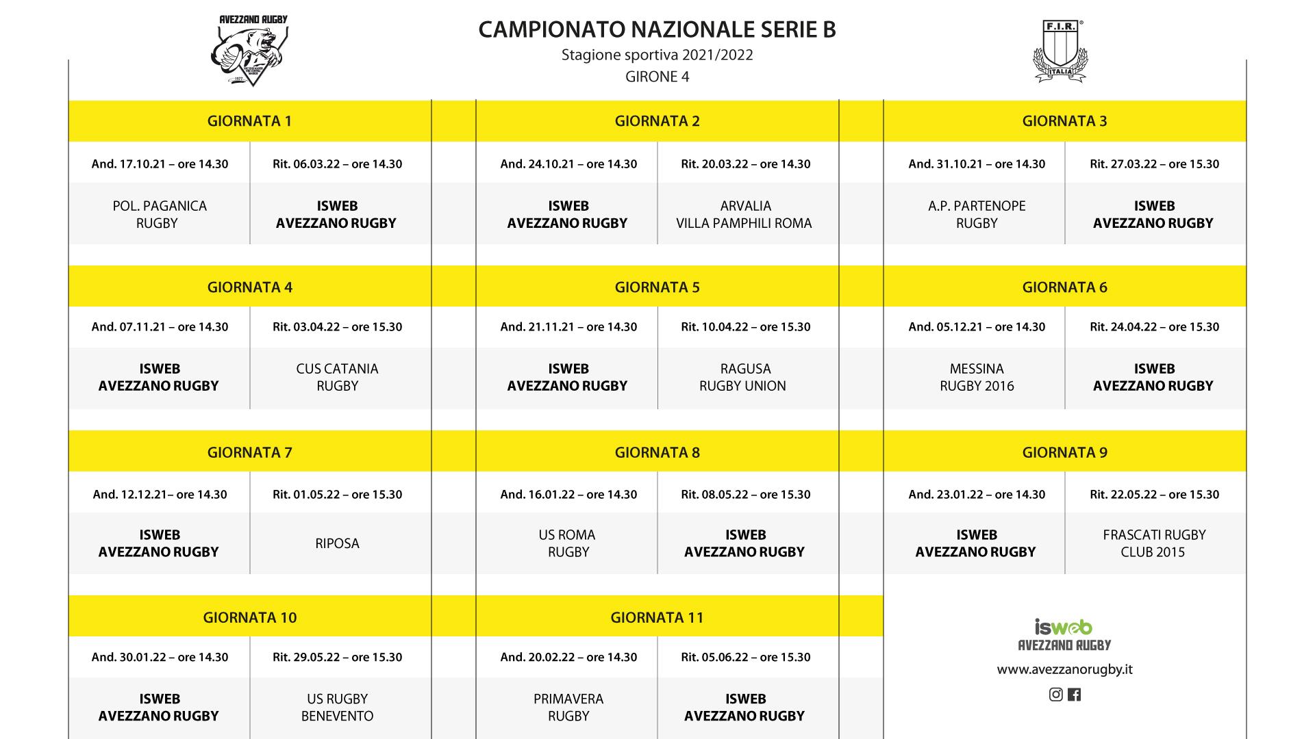 calendario partite serie B - girone 4
