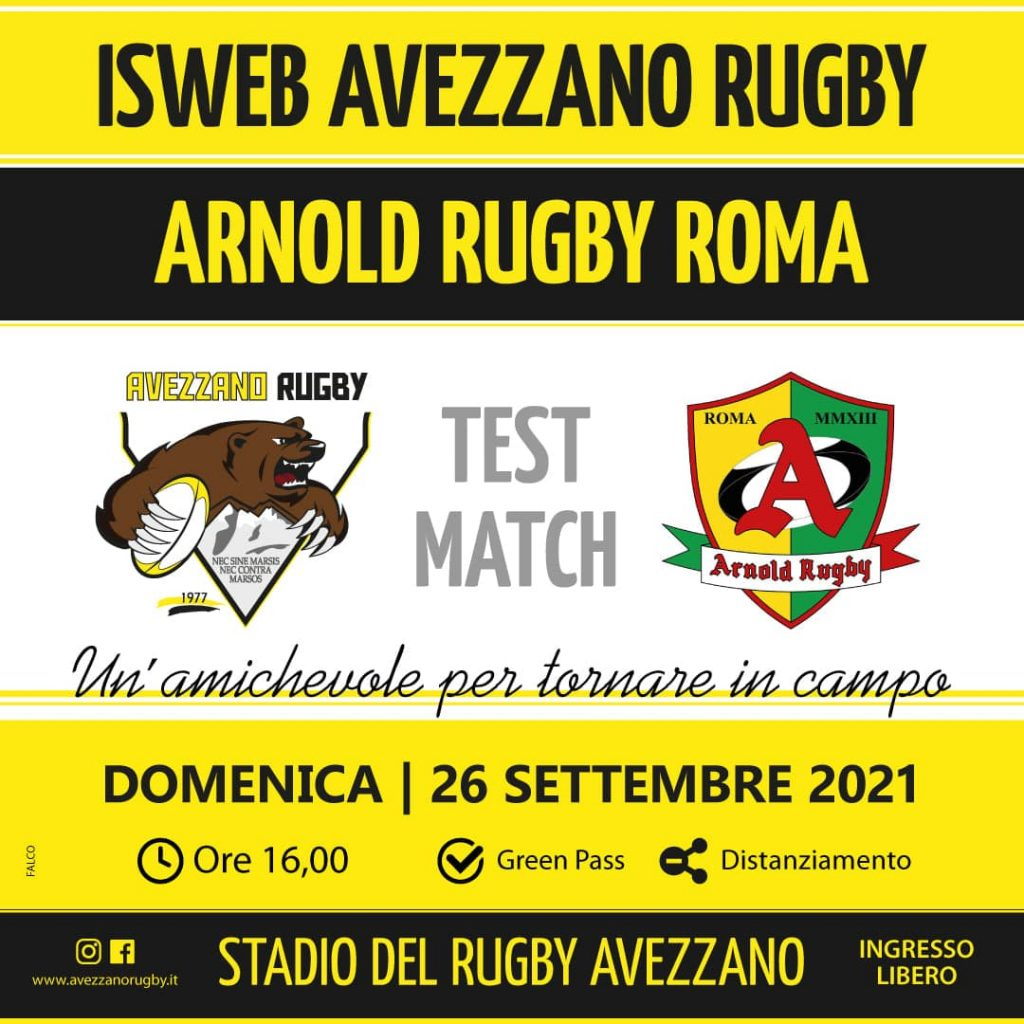 locandina avezzano rugby vs arnold rugby roma